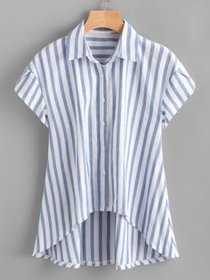 SheIn offers Contrast Striped Petal Sleeve Dip Hem Shirt & more to fit your fashionable needs. Sewing Clothes, Diy Clothes, Clothes For Women, Blue Fashion, Fashion Outfits, Fashion Styles, Crop Top Und Shorts, Petal Sleeve, Shirt Refashion