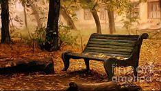 Long Forgotten Lovers Bench Digital Oil Painting