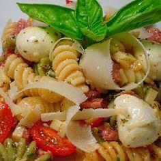 Caprese Pasta Salad Recipe Salads with fusilli, genoa salami, provolone cheese, red pepper, mozzarella cheese, grape tomatoes, fresh parsley, parmigiano-reggiano cheese, olive oil, red wine vinegar, garlic, dried oregano, dried basil, pepper, salt
