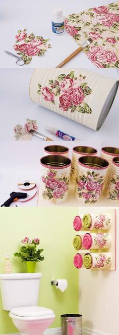 Recycling idea tin can, tutorial for creating a . - Do it yourselfIdea to recycle tin can, tutorial to create a towel rack in the bathroom from custom-made cans with flowers, decoupage technique, simple decoration Home Crafts, Diy And Crafts, Arts And Crafts, Upcycled Crafts, Decor Crafts, Recycled Tin Cans, Recycled Bottles, Decoupage Tins, Decoupage Tutorial