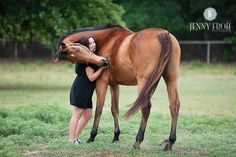 Horse hug- easy to train using a treat training method. One hand on the chest prevents forward movement and the treat is held in the hand on the side.