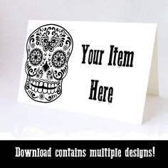 Day of the Dead Food Labels, Sugar Skull Food Tents, Party Food Tents, Sugar Skull Place Cards, Halloween Instant Download, Black and Red by PreciselyPrintable on Etsy https://www.etsy.com/listing/458241982/day-of-the-dead-food-labels-sugar-skull