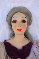 "Interesting Cloth Boudoir Bed Doll 32"" 1920's Glass Eyes"