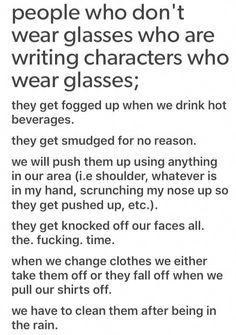 Writing characters who wear glasses. Writing tips. Book Writing Tips, Creative Writing Prompts, Writing Words, Writing Help, Writing Skills, Writing Ideas, Writing Quotes, Dialogue Prompts, Story Prompts
