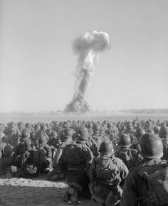 TODAY IN HISTORY: Soldiers of the U. Army's Airborne Division watch a plume of radioactive smoke rise over the Nevada desert after a nuclear test at Yucca Flats, November (National. Nuclear Test, Nuclear Bomb, Nevada Test Site, Bomba Nuclear, Mushroom Cloud, Nevada Desert, Atomic Age, Cold War, Fotografia