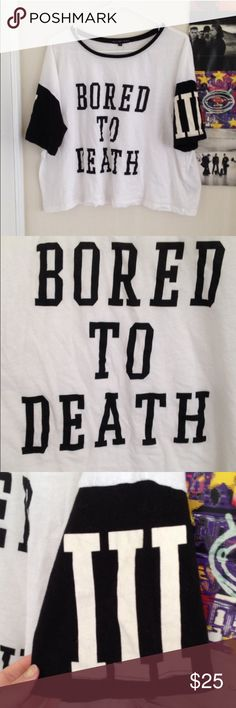 Urban Outfitters Bored to Death T Shirt NWOT (due to being an online purchase), never worn except for modeling pic, no flaws whatsoever! Brand is Truly Madly Deeply by Urban Outfitters, has a major UNIF vibe in my opinion. Urban Outfitters Tops Tees - Short Sleeve