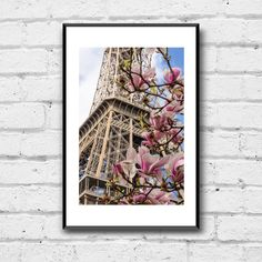 Eiffel Tower Photo Print - Spring in Paris - Paris Blossoms - Paris Photography - Paris Photo Print - Wall Decor - Travel Wall Art Travel Wall Art, Magnolia Flower, Paris Paris, Paris Photography, Paris Photos, Wall Prints, Photo Wall Art, Blossoms, Wall Art Decor
