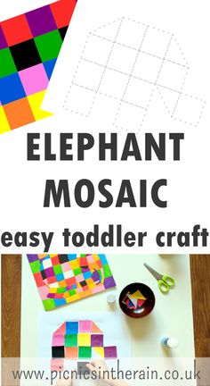 elephant mosaic easy toddler craft, inspired by elmer from Picnics in the Rain - simply print, cut and glue Easy Toddler Crafts, Easy Crafts, Arts And Crafts, Toddler Play, Toddler Preschool, Kindergarten Shapes, Elmer The Elephants, Rainbow Crafts, Easter Activities