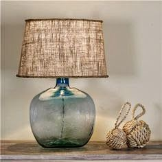Burlap shades in every size and color from Shades of Light. and also this recycled glass table lamp in 9 colors! Love love this lamp Coastal Bedrooms, Coastal Living Rooms, Home Decoracion, Table Lamp Shades, Table Lamps, Console Table, Coastal Decor, Coastal Cottage, Coastal Interior