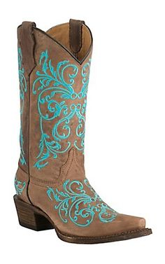 Corral Boot Company Youth Vintage Tan with Turqoise Vine Embroidery Snip Toe Western Boots