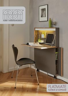 57 wall mounted desks and built in work surfaces that will save space 57 an der Wand montierte Schreibtische […] Wall Mounted Desk, Wall Desk, Folding Furniture, Furniture Design, Space Furniture, Fold Away Desk, Desks For Small Spaces, Floating Desk, Small Room Design
