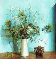 Margaret Olley - her paintings are so Australian with the dry flowers against bright blue. Love this blue tone for our wedding