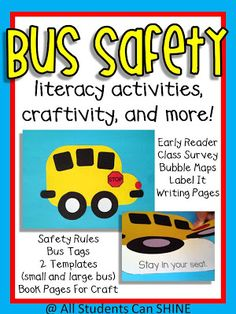 All Students Can Shine: Bus Safety Craftivity & Literacy Activities.This is perfect for bus safety week & back to school! School Bus Safety, School Bus Driver, School Buses, School Bus Crafts, School Fun, School Stuff, Bus Tags, Safety Week, Safety Rules