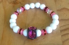 Pink Flamingo Beaded Bracelet with Swarovski Beads by KashmereCouture on Etsy