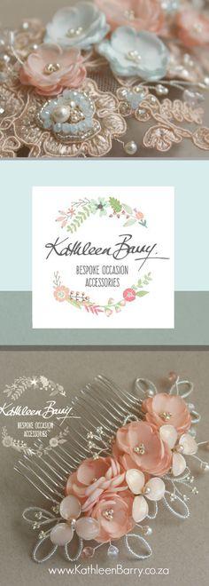 Peach coral turquoise aqua bridal wedding hair accessories kathleen barry online boutique