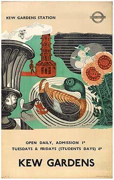 Kew Gardens Gallery By Edward Bawden, Lithography after linocut London Illustration, London Poster, Kew Gardens, Cat Cards, Vintage Travel Posters, Pet Birds, Birds 2, Tag Art, Letterpress