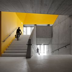 Splashes of primary colours punctuate the main staircase and selected interior walls in this secondary school extension.