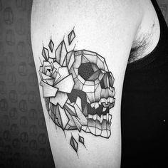 #Tattoo #tatuaje #skull #geometric #ink #rose #blackwork #blackworkers #blackworkerssubmission #mexico