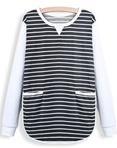 Black Contrast Long Sleeve Striped Pockets Blouse EUR€22.54