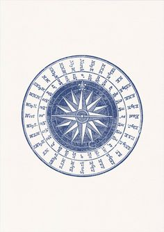 Nautical print poster Vintage compass rose in by seasideprints