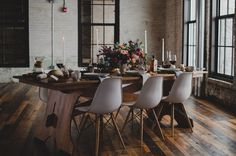 Romantic industrial reception space