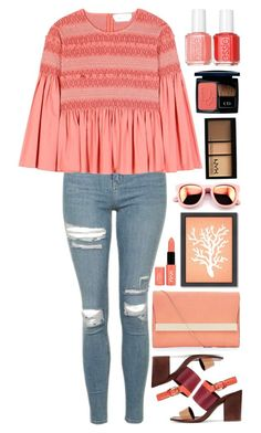 """""""CORAL //itsybitsy62"""" by itsybitsy62 ❤ liked on Polyvore featuring Wildfox, Topshop, See by Chloé, Tory Burch, New Look, Christian Dior, Essie, NYX and Americanflat"""