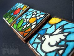 Square Stained glass spring cookies | Cookie Connection