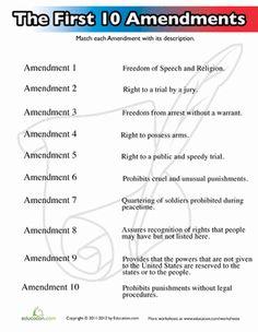 Fifth Grade Civics & Government Worksheets: Ten Amendments for Kids