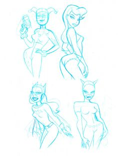 Harley Quinn, Poison Ivy, Batgirl and Catwoman Rough Sketches by Bruce Timm Batman Drawing, Comic Drawing, Cartoon Drawings, Cartoon Art, Drawing Sketches, Random Drawings, Hair Drawings, Batgirl, Catwoman