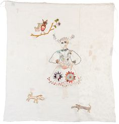 Kristine Fornes, Beauty astray Hand-embroidery and mending on linen and cotton 65 x 57 cm