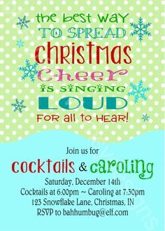 Buddy the ELF Invitation for Cocktails & Caroling - Printable, DIY by BluegrassWhimsy, $15.00