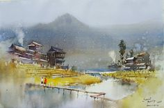 Prafull Sawant Size 55 x 36 cm Watercolor Watercolor Water, Watercolor Landscape Paintings, Watercolor Artwork, Gouache Painting, Watercolor Illustration, Landscape Art, Painting & Drawing, Realistic Paintings, Indian Paintings