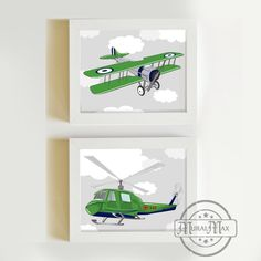 Airplane and Helicopter Print Kids Wall Art - Airplane Nursery Art-Vintage Airplane Art -Transportation Decor,  Nursery Wall Art set of two by MuralMAX on Etsy https://www.etsy.com/listing/175553808/airplane-and-helicopter-print-kids-wall