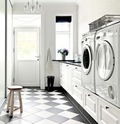 Modern Farmhouse Laundry Room Ideas – Pickled Barrel Modern Farmhouse Laundry Room with Black and White Checkered Floor Modern Laundry Rooms, Farmhouse Laundry Room, Modern Room, Laundry Room Cabinets, Laundry In Bathroom, Landry Room, Checkered Floors, Laundry Room Inspiration, Black And White Tiles
