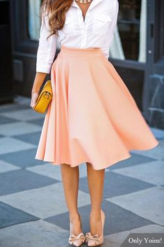 "I finally discovered the proper term for this kind of skirt: ""high waisted midi skirt"" 