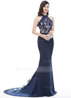 [US$ 167.49] Trumpet/Mermaid Halter Court Train Satin Prom Dress (018105684)