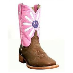 Anderson Bean Kids' Boot Bone Antique Goat with Pink Marfalous TopFoot: Bone Antique GoatTop: 8 Inch Pink Marfalous with Peace Sign and Daisy InlayToe: DB Square ToeHeel: 1 Inch Roper HeelInsole: Regular InsoleOutsole: LeatherAnderson Bean style
