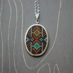 Geometric modern cross stitch necklace/ pendant by TheWerkShoppe, $38.00