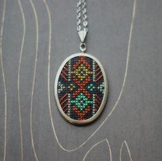 Geometric modern cross stitch necklace/ pendant by TheWerkShoppe, $38.00