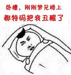 睡觉:卧糟,刚刚梦见楼上,都特码把我丑醒了