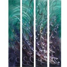 $275.99 Wall Decor & Home Accents Beneath the Sea Abstract Four-Piece Aluminum Wall Art Set Green, pink, silver and multi #WDHA30865 - W