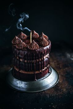 chocolate cake with chocolate hazelnut frosting