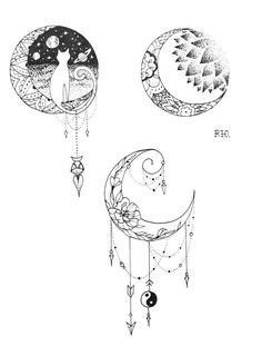 Ink and Paper Moon Designs Tattoos Moon tattoo designs body art designs - Tattoos And Body Art Moños Tattoo, Tattoo Mond, Tattoo Drawings, Chest Tattoo, Tattoo Paper, Cute Tattoos, Beautiful Tattoos, Body Art Tattoos, Small Tattoos
