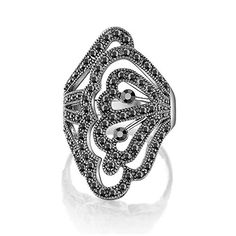 Mytys Retro Vintage Cocktail Statement Ring Black Marcasite and Crystal Rings for Women Girls Silver Plated Antique Big Black Onyx Stone Ring
