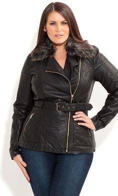 City Chic Fur Trim Nina Jacket Was: $128.00 Now: $76.80