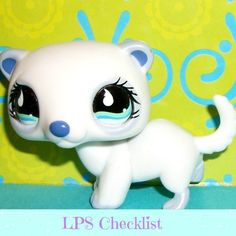 Littlest Pet Shop~#798 WHITE & PERIWINKLE FERRET SUPER RARE Blue Eyes.  Click here: mylittlestpetshops.com for more pets!