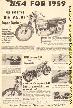"""1959 BSA """"Big Valve"""" Super Rocket"""