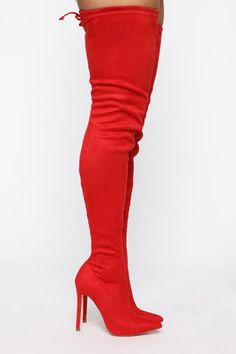Available In Black,Burgundy,Denim,Taupe And Red Thigh High Boot Pointed Toe Inner Side Zipper Back Tie Faux Suede Upper, Man Made Sole 4 Inch Heel Thigh High Boots, High Heel Boots, Over The Knee Boots, Bootie Boots, Shoe Boots, Men's Boots, Cute Shoes, Me Too Shoes, Red High Heels