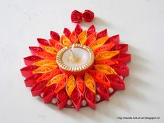 quilled candle frame for Diwali Celebrations ... gorgeous reds  oranges ....