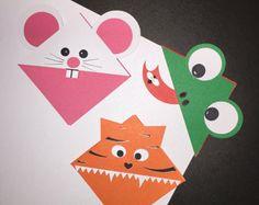 Articoli simili a Set di 3 simpatici segnalibri, tag angolo animale, rana, tigre, Panda, Bull progetta, disegni a mano Fun for Kids su Etsy